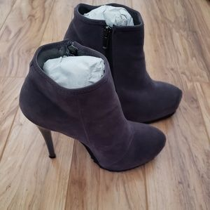 Gray Velvety Booties